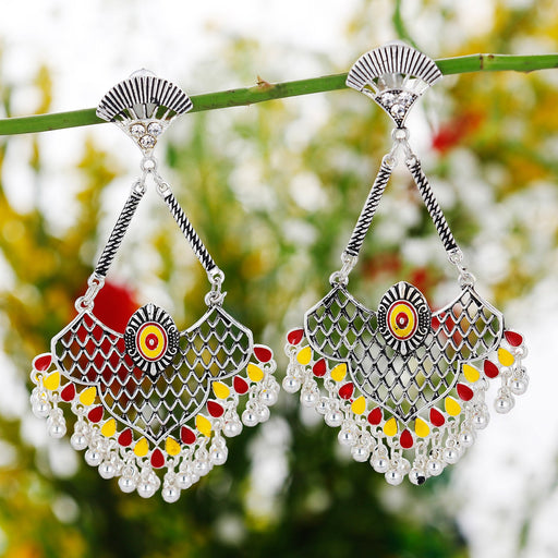 Sukkhi Gleaming Rhodium Plated Chandbali Earring for Women