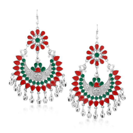 Sukkhi Cluster Rhodium Plated Chandbali Earring for Women