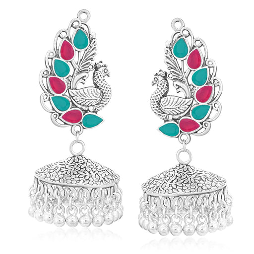 Sukkhi Exclusive Oxidised Plated Peacock Jhumki Earrings For Women