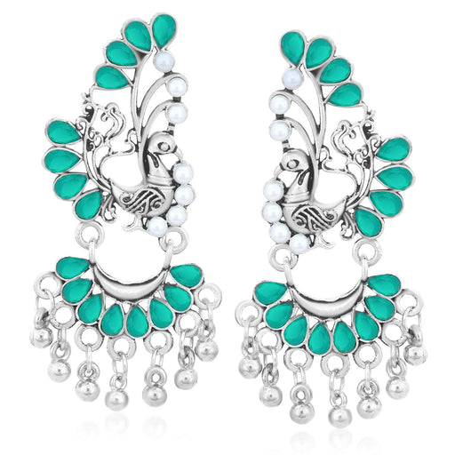 Sukkhi Charming Oxidised Plated Peacock Earrings For Women