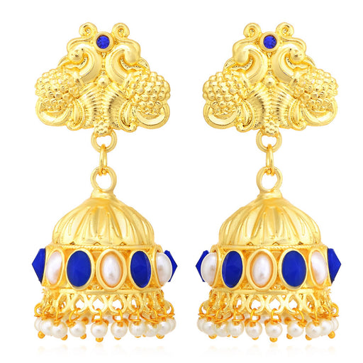 Sukkhi Glimmery Peacock Gold Plated Jhumki Earrings For Women