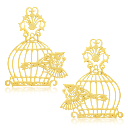 Sukkhi Vintage Birdcage Gold Plated Earrings For Women