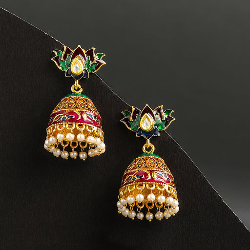 Sukkhi Youthful Gold Plated Meenakari Jhumki Earring for Women