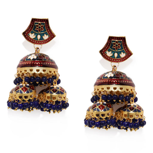 Sukkhi Splendid Gold Plated Meenakari Jhumki Earring for Women