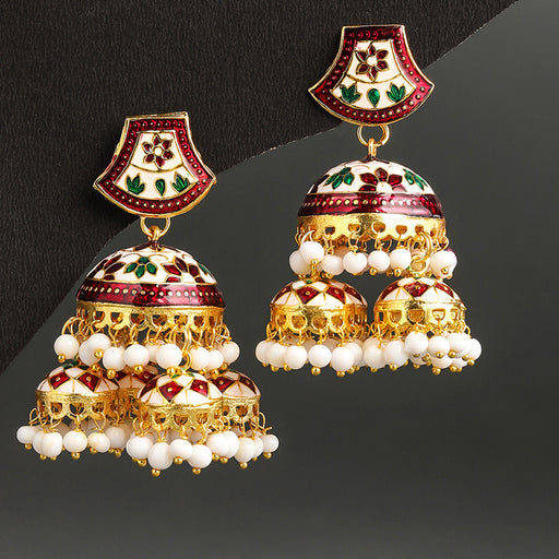 Sukkhi Exotic Gold Plated Meenakari Jhumki Earring For Women