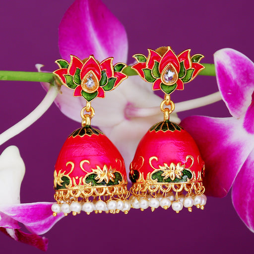 Sukkhi Delightful Pearl Gold Plated Lotus Meenakari Jhumki Earring For Women