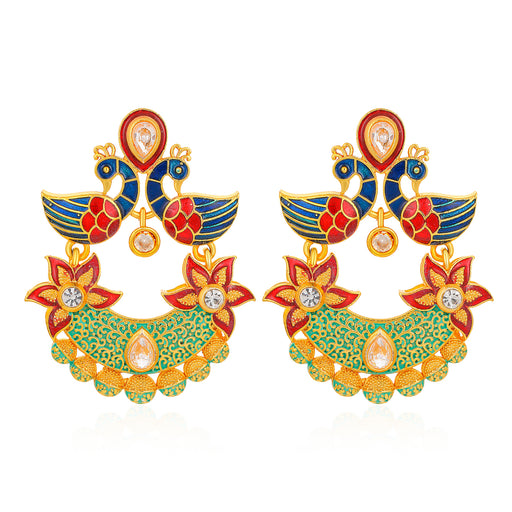 Sukkhi Sensational Mena Kari Peacock Gold Plated Earring for Women
