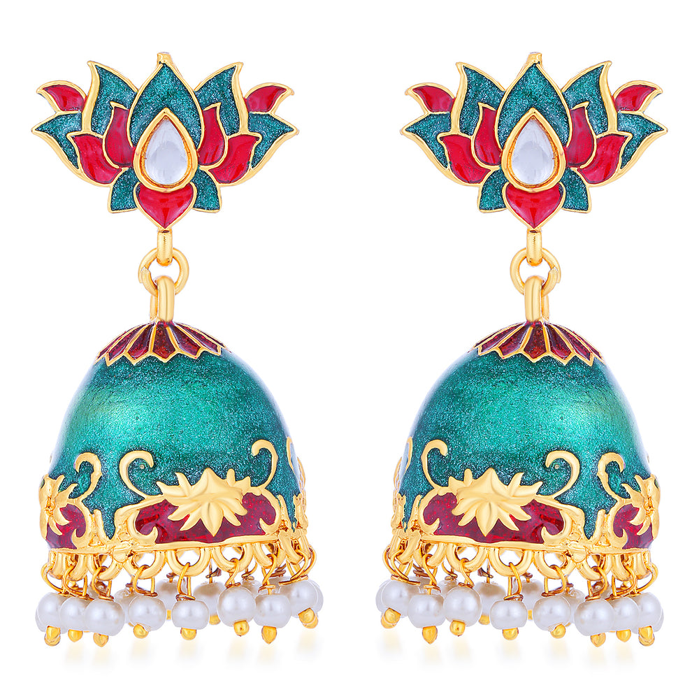 Sukkhi Adorable Pearl Gold Plated Lotus Meenakari Jhumki Earring For Women