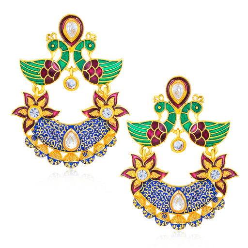 Sukkhi Eye Catching Peacock Mint Meena Collection Gold Plated Earring for Women
