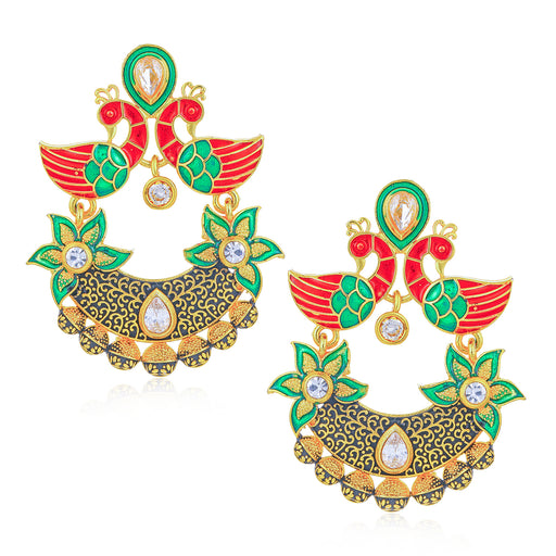 Sukkhi Cluster Kundan Peacock Gold Plated Mint Meena Collection Earring for Women