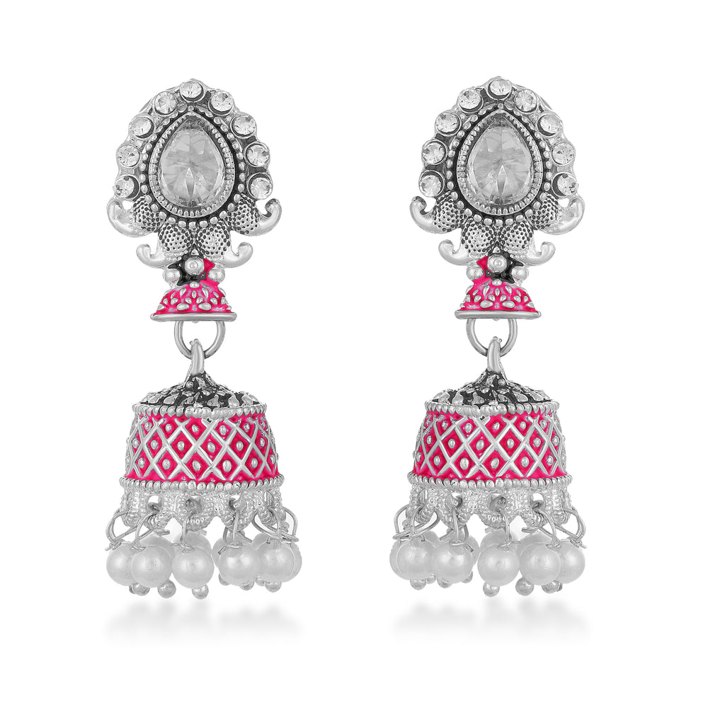 Sukkhi Antique Mint Meena Collection Pearl Oxidised Earring for Women