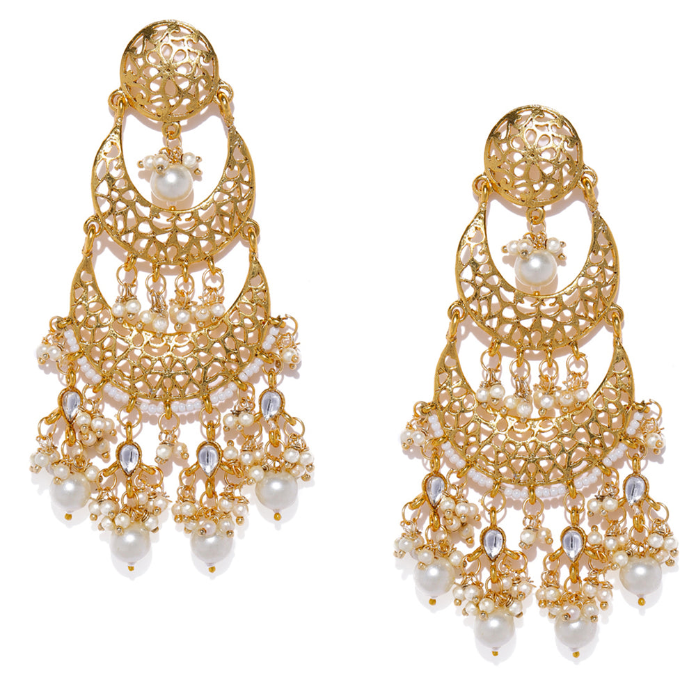 Sukkhi Gold Plated Double Chand Bali Earring for Women