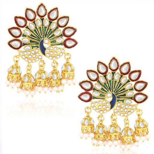 Sukkhi Gorgeous Gold Plated Peacock Meenakari Jhumki Earrings For Women