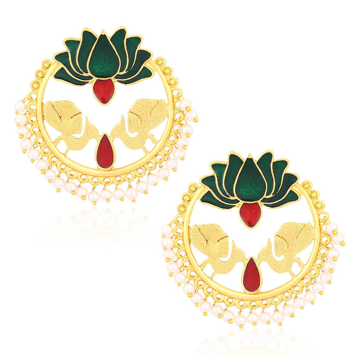 Sukkhi Marvellous Gold Plated Lotus Meenakari Chandbali Earrings For Women