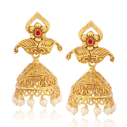 Sukkhi Fine Floral Jhumki Gold Plated Earring for women