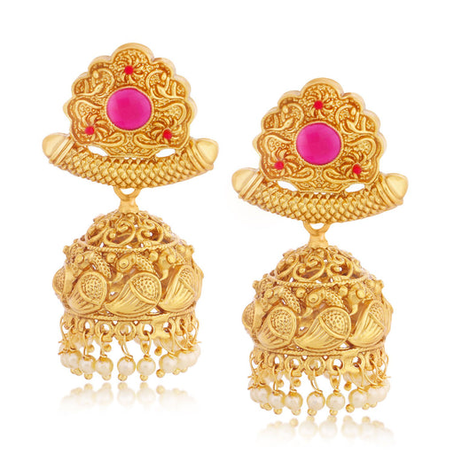 Sukkhi Trendy Peacock Jhumki Gold Plated Earring for women