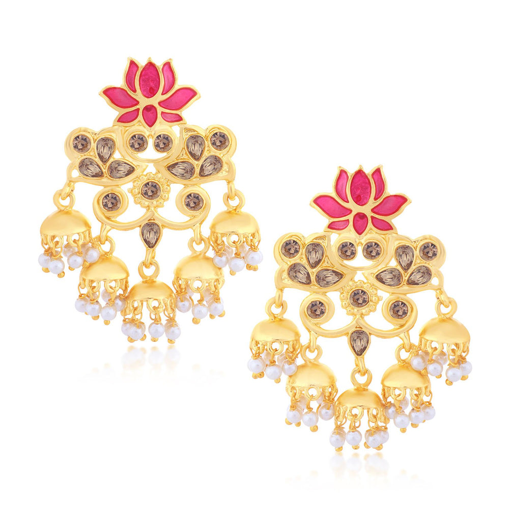 Sukkhi Fine Lotus Chand Bali Gold Plated Earring for women