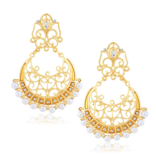 Sukkhi Attractive Chand Bali Gold Plated Earring for women