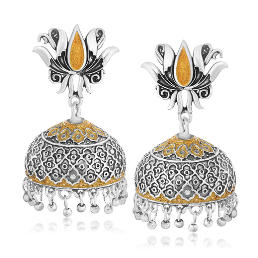 Sukkhi Marvellous Lotus Two Tone Jhumki Oxidised Earring for women