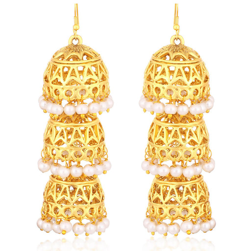 Sukkhi Stunning Gold Plated Pearl Dangler Jhumki Earrings For Women