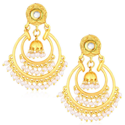 Sukkhi Adorable Gold Plated Kundan Chandbali Jhumki Earrings For Women