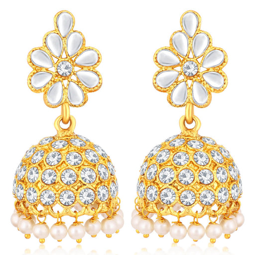 Sukkhi Classic Gold Plated Floral Jhumki Earrings For Women