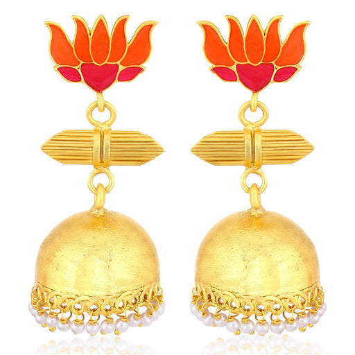 Sukkhi Exclusive Gold Plated Pearl Lotus Meenakari Jhumki Earrings For Women
