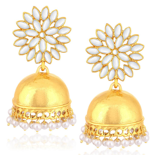 Sukkhi Luxurious Gold Plated Kundan Floral Jhumki Earrings For Women