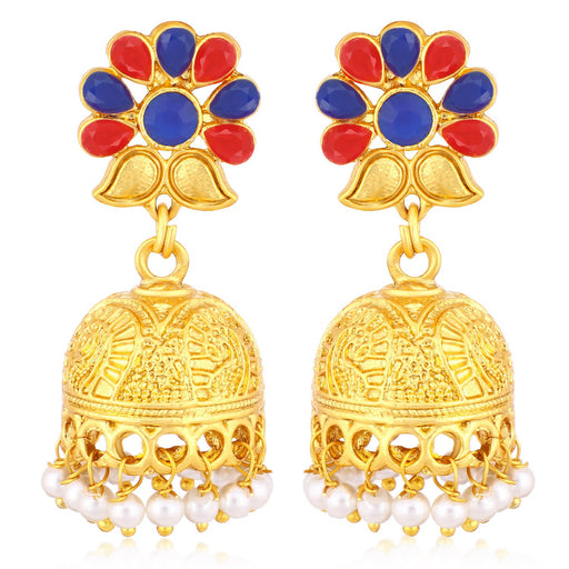 Sukkhi Classic Gold Plated Pearl Jhumki Earrings For Women