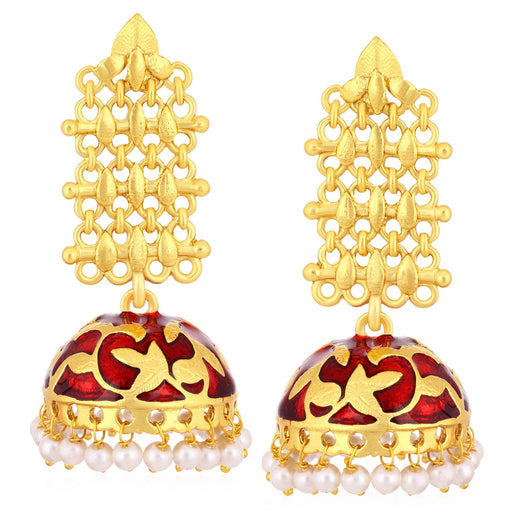 Sukkhi Ravishing Gold Plated Pearl Meenakari Chandelier Jhumki Earrings For Women