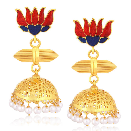 Sukkhi Elegant Gold Plated Pearl Lotus Meenakari Jhumki Earrings For Women
