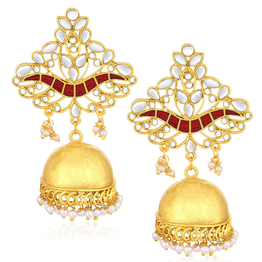 Sukkhi Mesmerizing Gold Plated Kundan Meenakari Chandelier Jhumki Earrings For Women