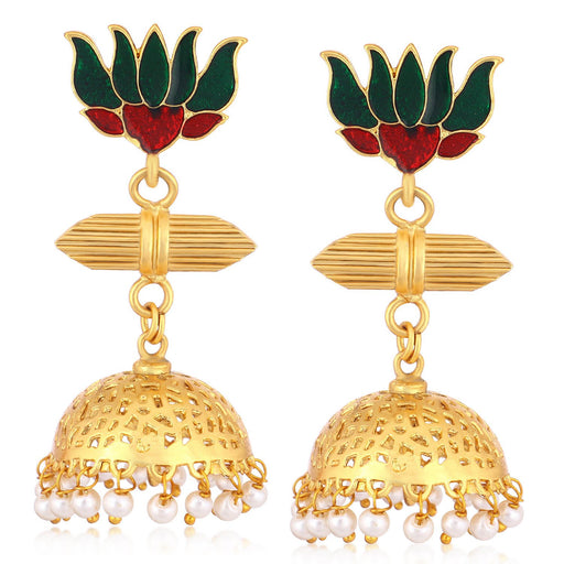Sukkhi Exotic Gold Plated Pearl Lotus Meenakari Jhumki Earrings For Women