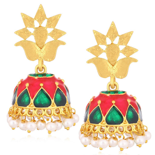 Sukkhi Astonish Gold Plated Pearl Meenakari Jhumki Earrings For Women