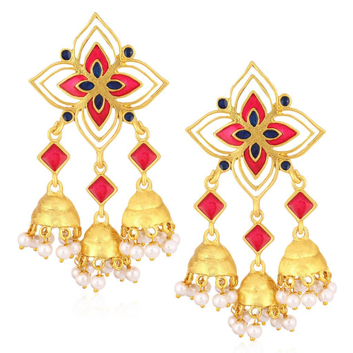 Sukkhi Charming Gold Plated Pearl Meenakari Chandelier Jhumki Earrings For Women