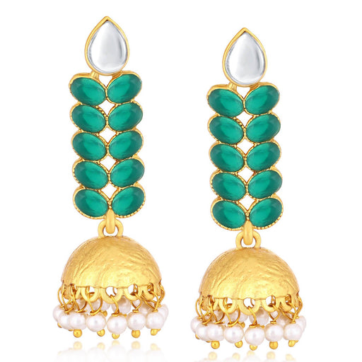 Sukkhi Trendy Gold Plated Pearl Chandelier Jhumki Earrings For Women