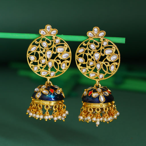 Sukkhi Fabulous Pearl Gold Plated Kundan Jhumki Earring For Women