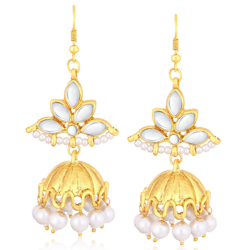 Sukkhi Glistening Gold Plated Kundan Dangler Jhumki Earrings For Women