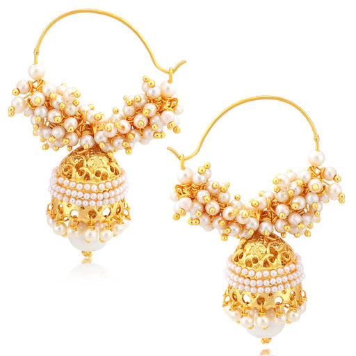Sukkhi Glimmery Gold Plated Pearl Hoop Jhumki Earrings For Women