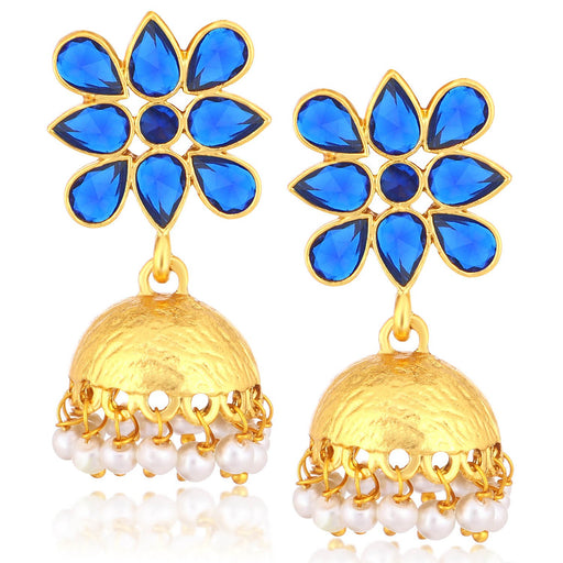 Sukkhi Fancy Gold Plated Pearl Jhumki Earrings For Women