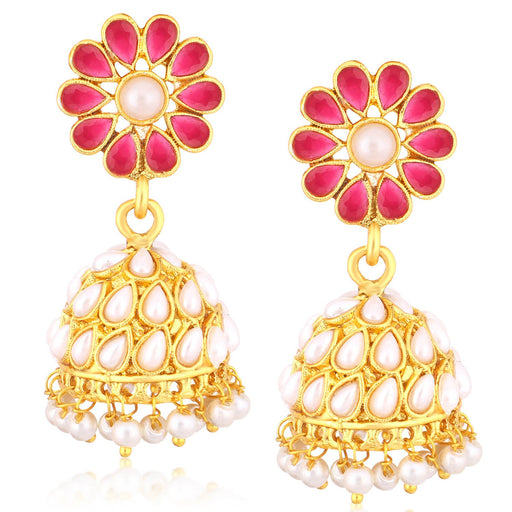 Sukkhi Divine Gold Plated Pearl Jhumki Earrings For Women