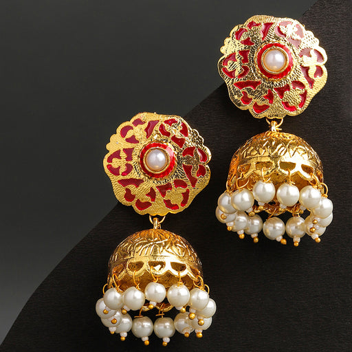 Sukkhi Marquise Gold Plated Pearl Jhumki Earring for Women