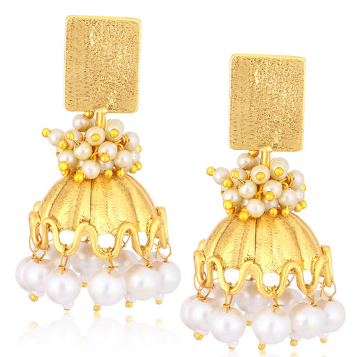 Sukkhi Elegant Gold Plated Pearl Jhumki Earrings For Women