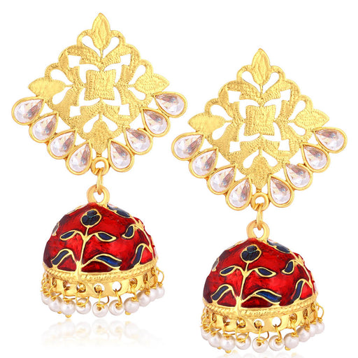 Sukkhi Floral Gold Plated Kundan Meenakari Jhumki Earrings For Women