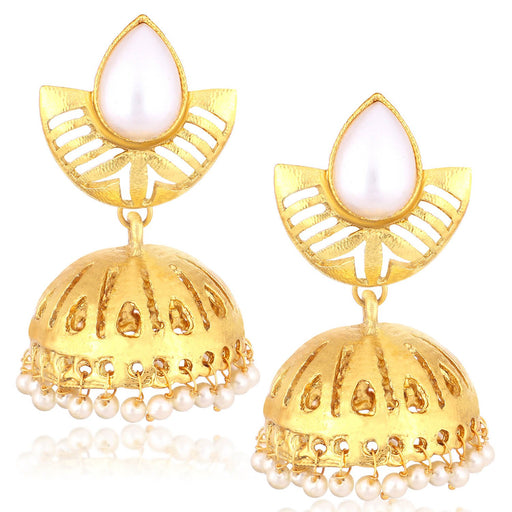 Sukkhi Delicate Gold Plated Pearl Dangler Jhumki Earrings For Women