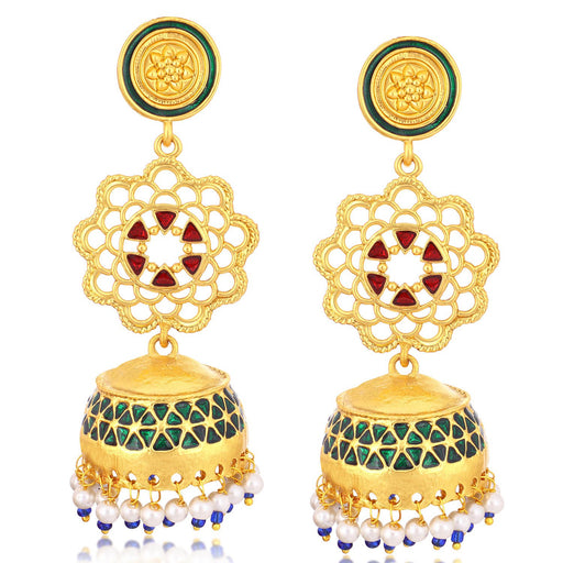 Sukkhi Royal Gold Plated Pearl Meenakari Chandelier Jhumki Earrings For Women