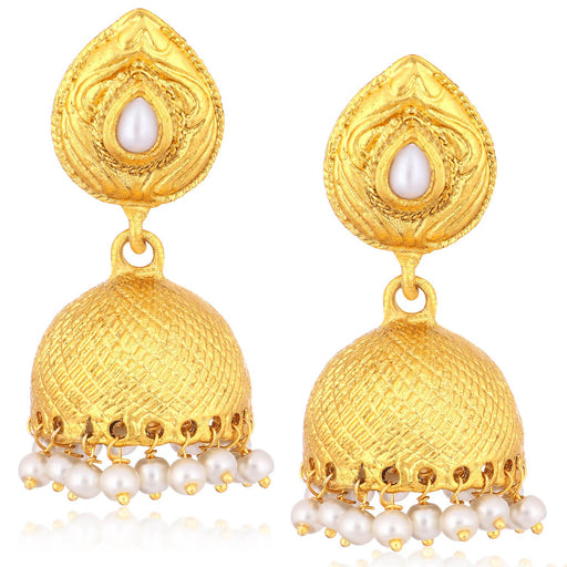 Sukkhi Gleaming Gold Plated Pearl Jhumki Earrings For Women
