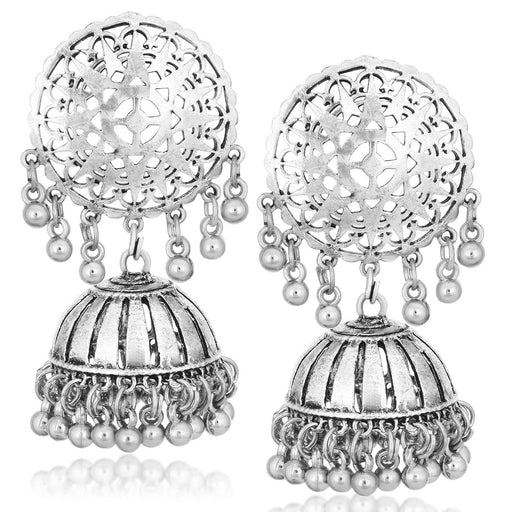 Sukkhi Exotic Oxidised Plated Round Dangler Jhumki Earrings For Women