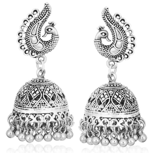 Sukkhi Astonish Oxidised Plated Peacock Jhumki Earrings For Women