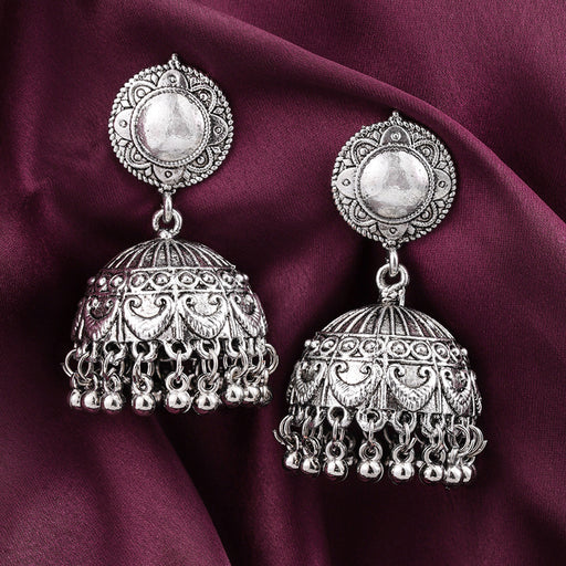 Sukkhi Dazzling Oxidised Plated Floral Jhumki Earring for Women